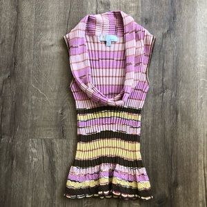 M by Missoni Pink Knit Sleeveless Cowl Neck Top